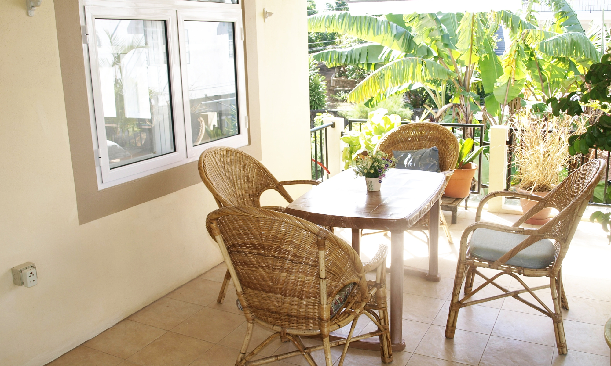 Guesthouse Gästehaus Heliconia Mauritius - Terrasse im ersten Stock